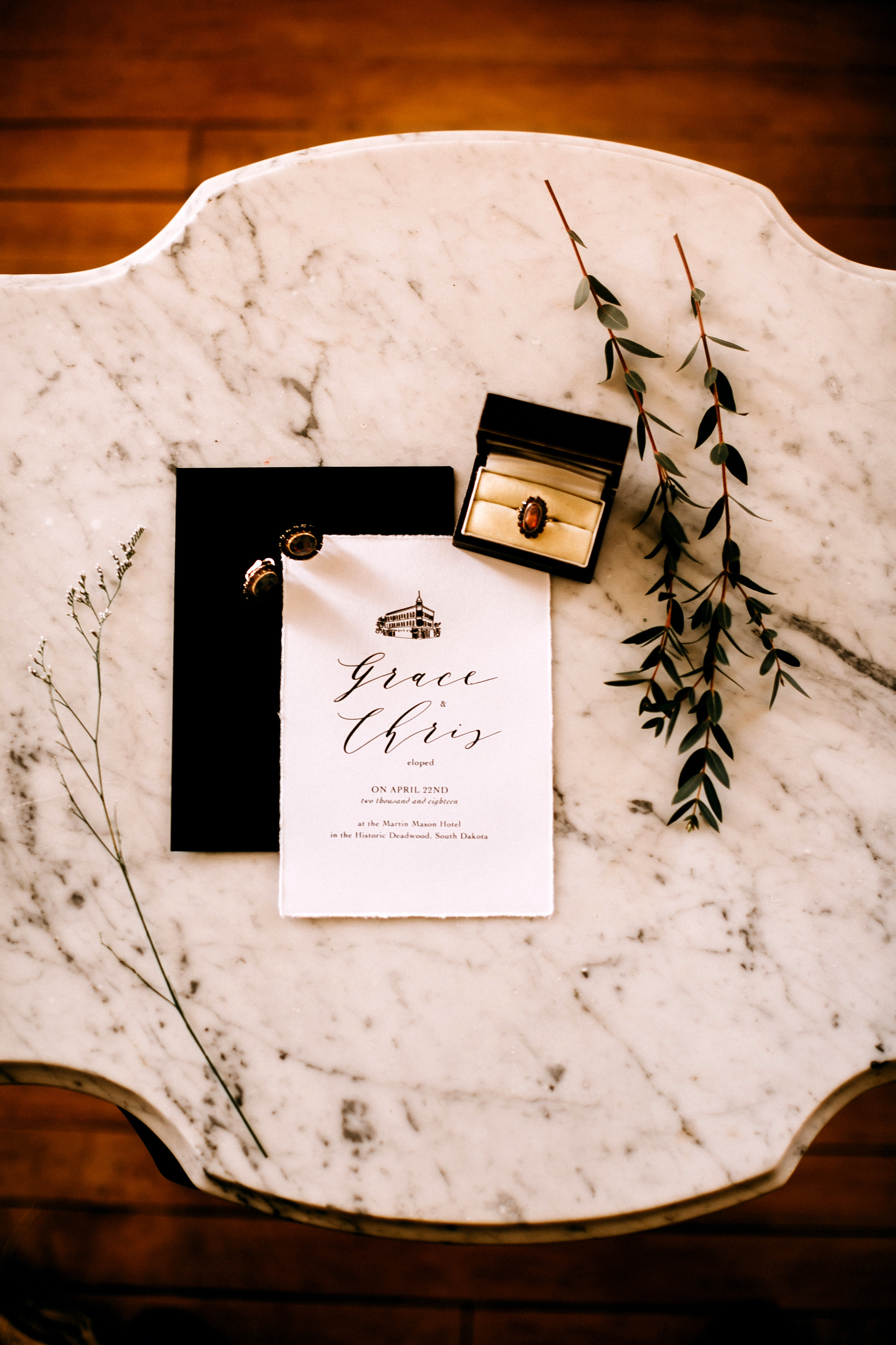 minimalist black white invitation suite