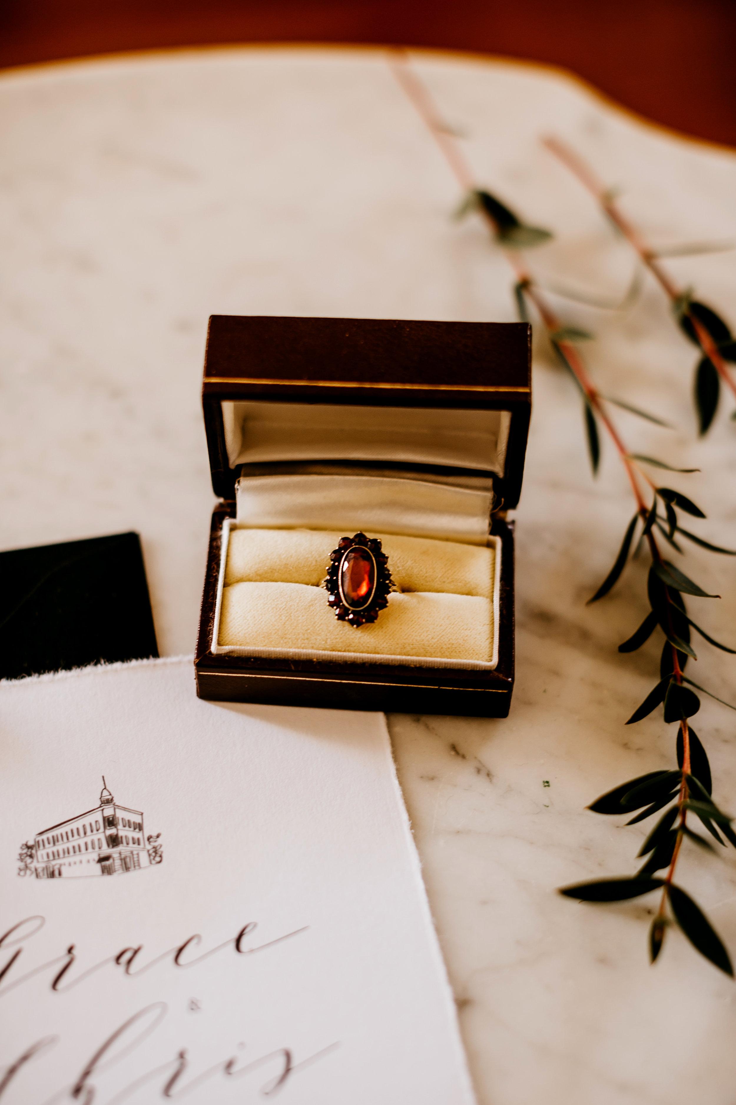 vintage garnet engagement ring