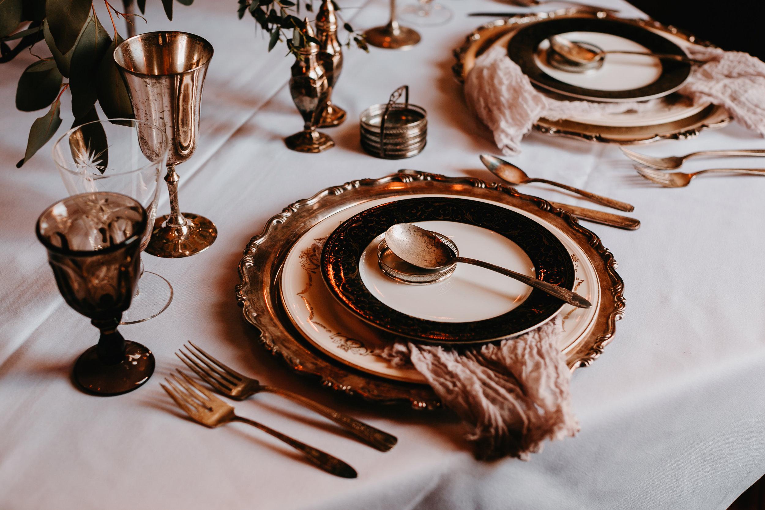 haunted vintage elopement tablescape