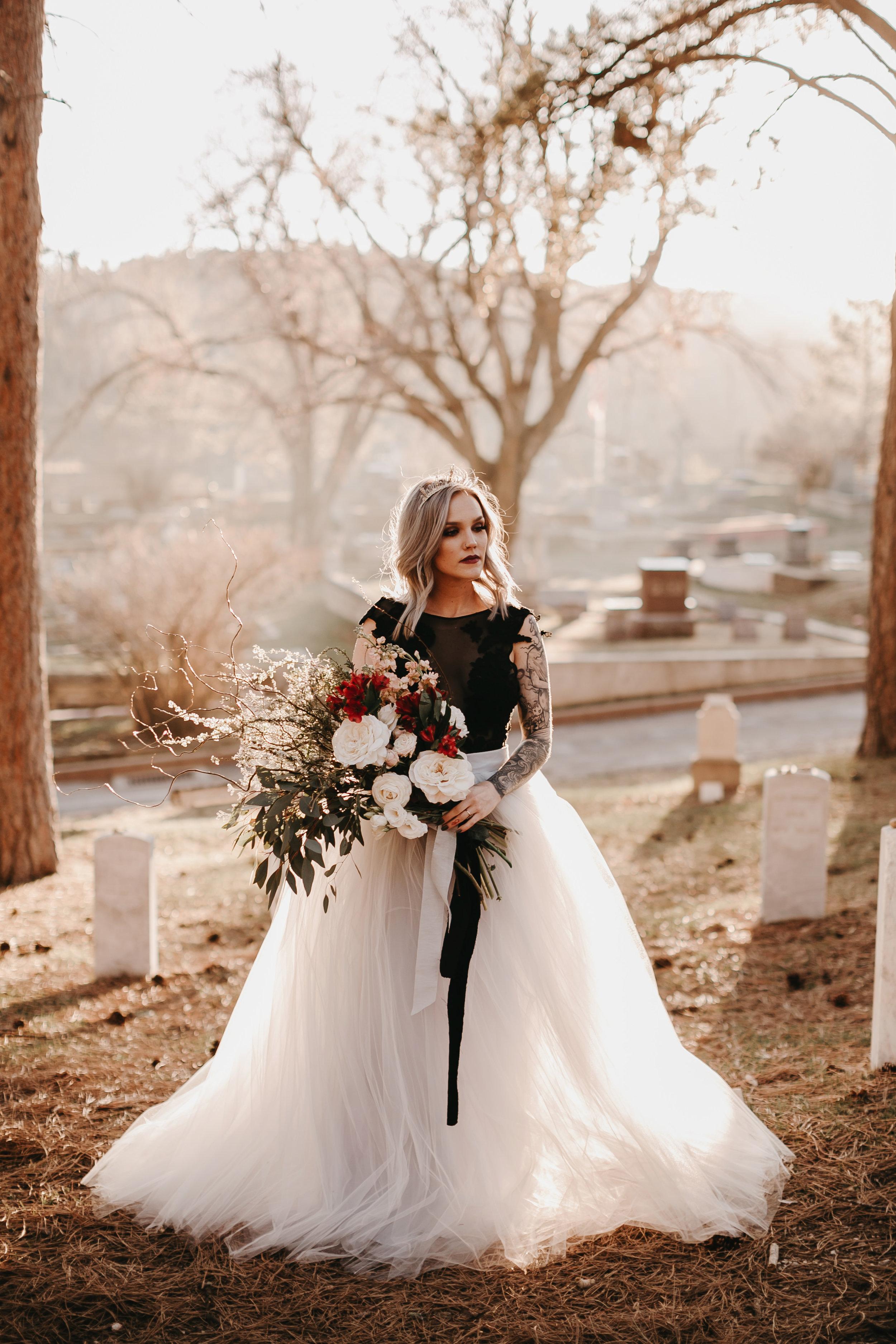 historic cemetery elopement moody bride