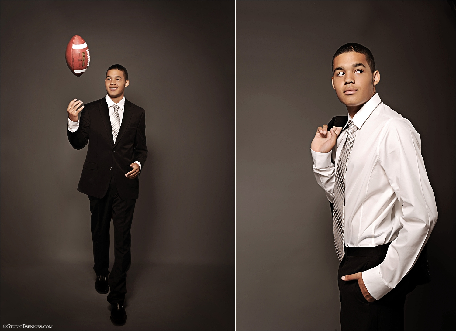 Senior guy in suit with football