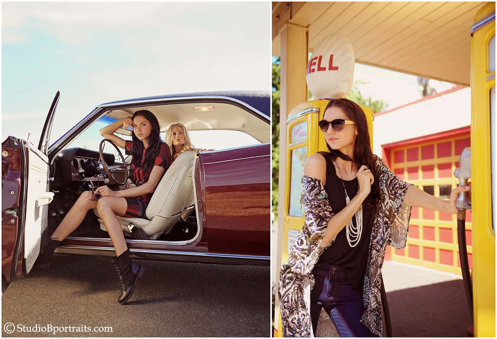 Seattle Fashion photo shoot inspired by Thelma & Louise with class GTO car in Issaquah WA