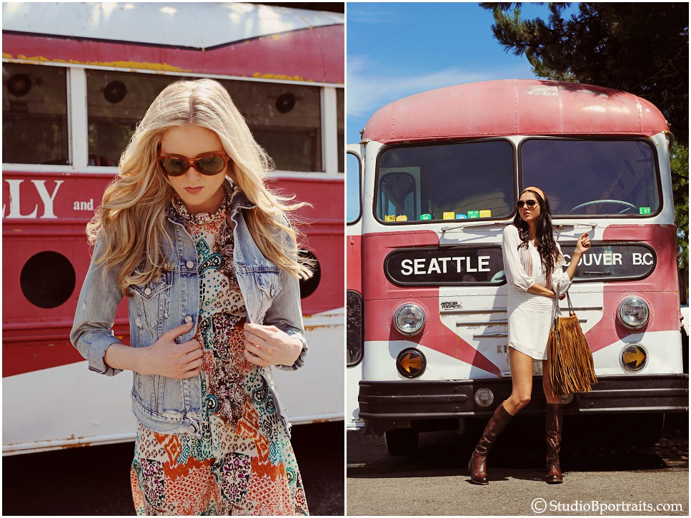 Seattle Fashion photo shoot inspired for 425 Magazine in Issaquah WA with vintage bus