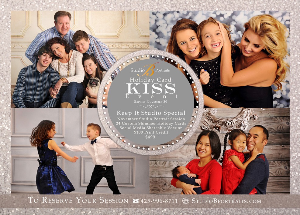 Family Portraits + Holiday Card Special at Studio B Portraits near Bellevue WA in Seattle area