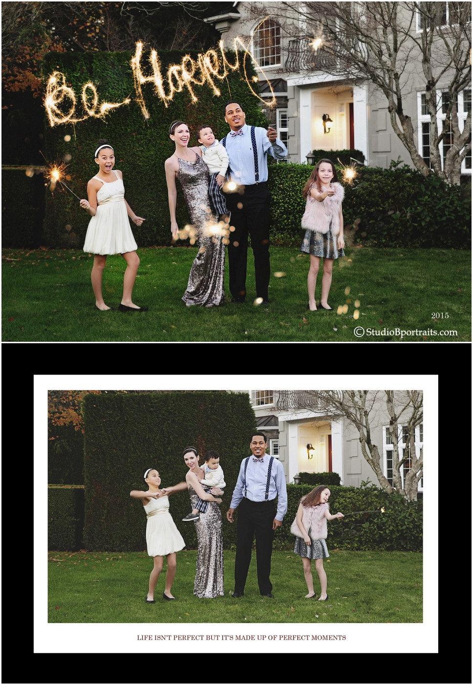 Formal family holiday portrait using sparklers to write Be Happy in front of house by Studio B Portraits_0232.jpg