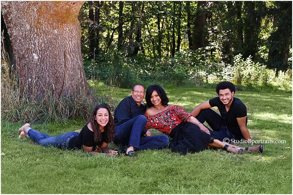 Outdoor fall family picture of African American Family