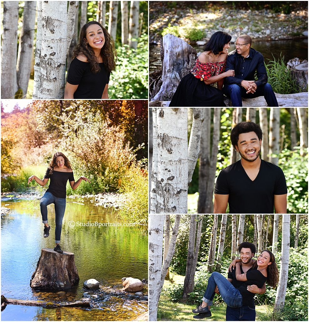 Family portraits collage of Wallace family outdoors in Fall
