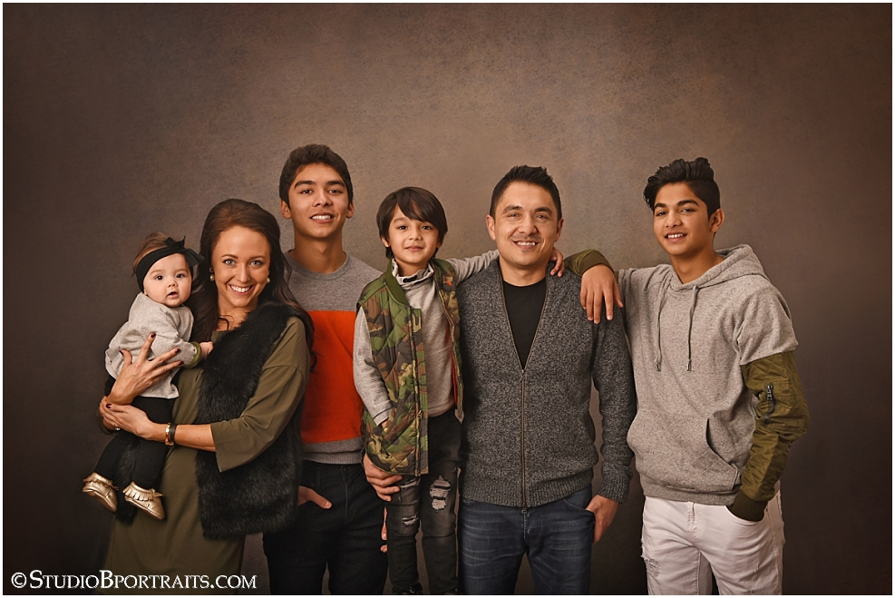 Great upscale family pictures in studio at Studio B Portraits