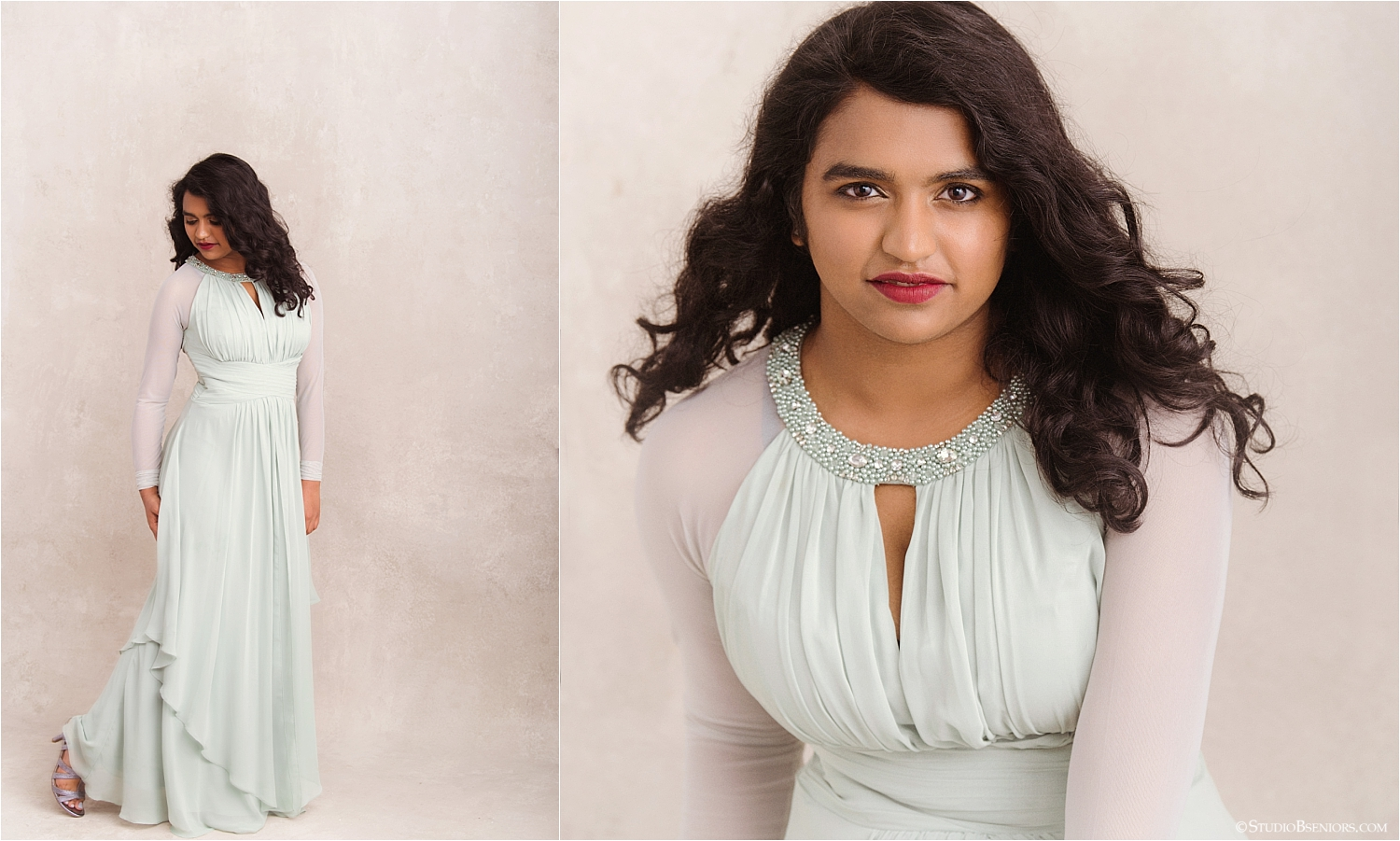 Beautiful Indian girl in mint green formal dress for senior pictures_0034.jpg