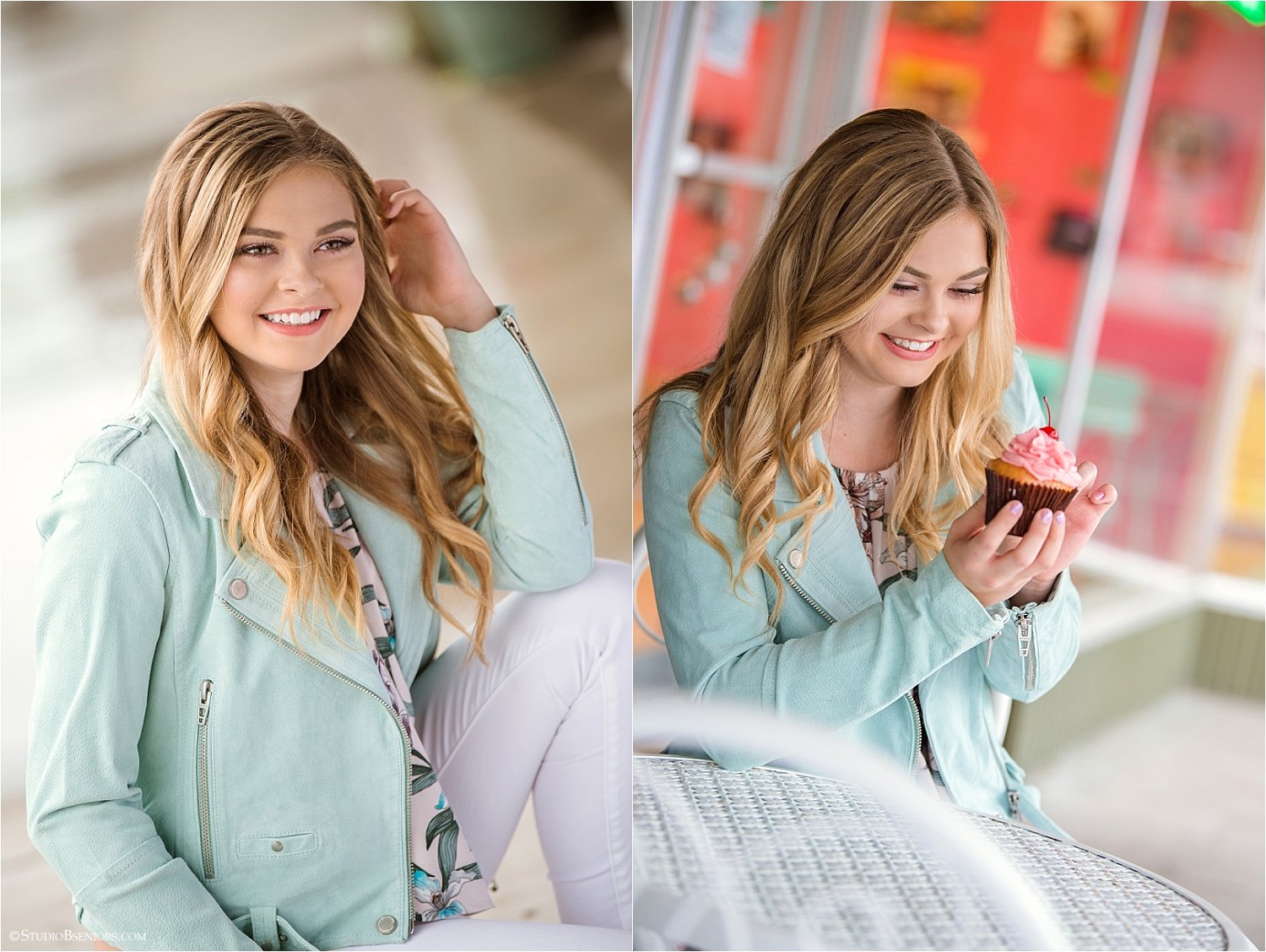 High School senior girl eating a cupcake at Small Cakes in Issaquah