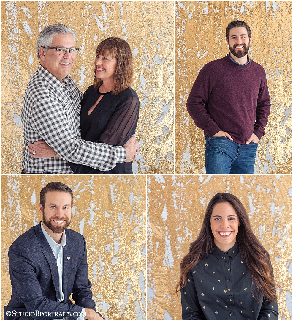 Studio B Portraits best holiday family pictures on gold glitter backdrop.jpg