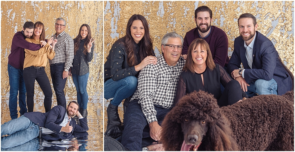 Holiday family picture outtakes on gold glitter backdrop with poodle_0097.jpg