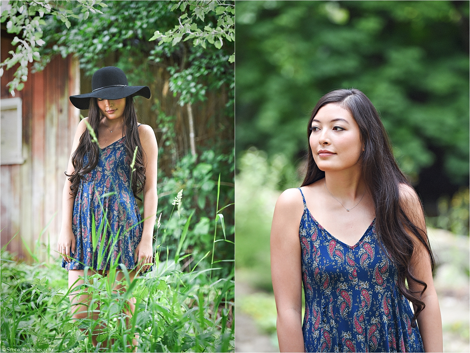Pretty Asian girl in boho dress and black hat.jpg