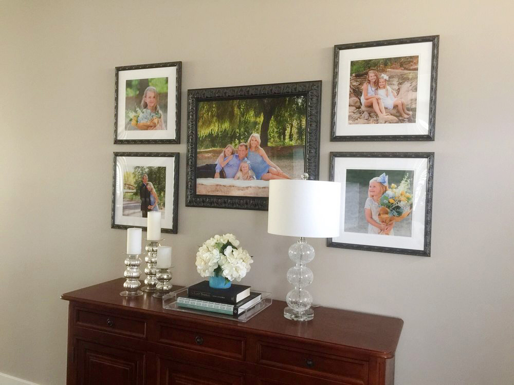 Five piece family pictures wall design - series includes custom Signature Prints, matted and framed for the formal dining room. (sized 16-24 inches each)