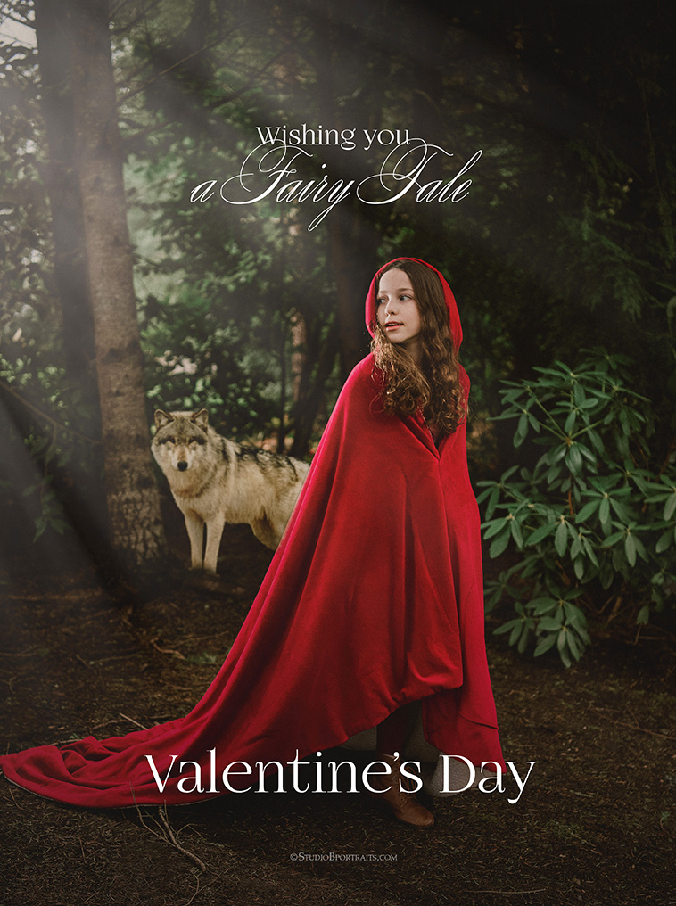 Little Red Riding Hood Valentines Day Card of 11 year old girl with wolf_web.jpg