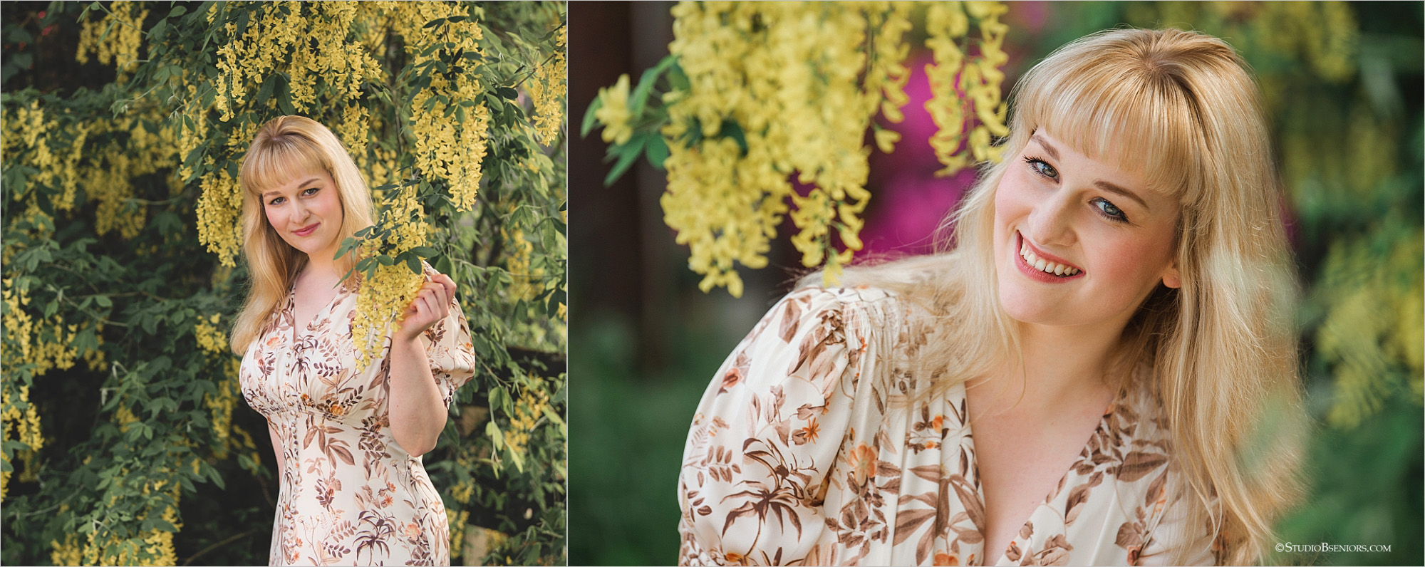 Spring portraits of college senior girl in floral dress in yellow flowers_0067.jpg