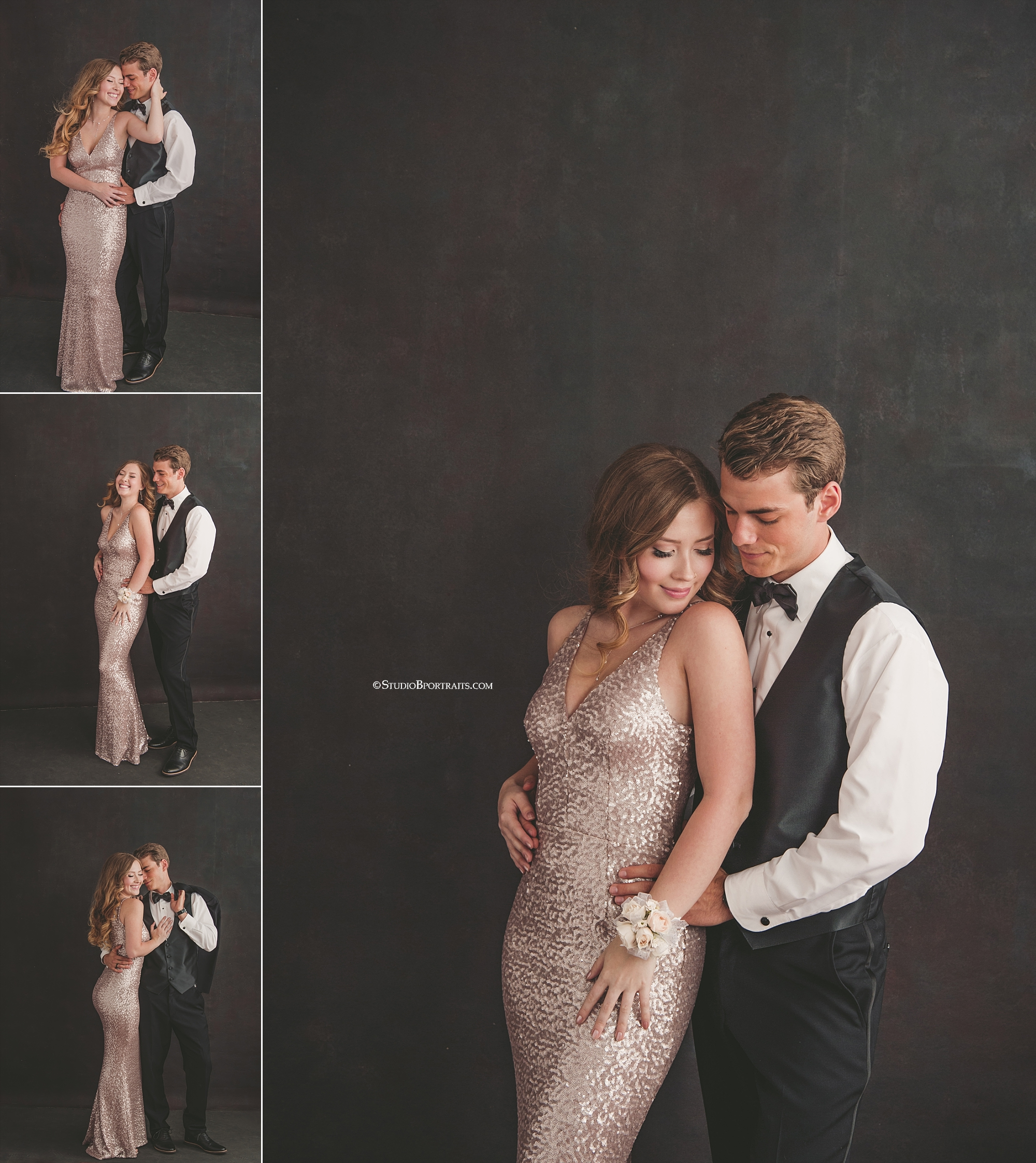 Studio B Portraits_Vanity Fair inspired senior pictures in formal gown and tux_0095.jpg