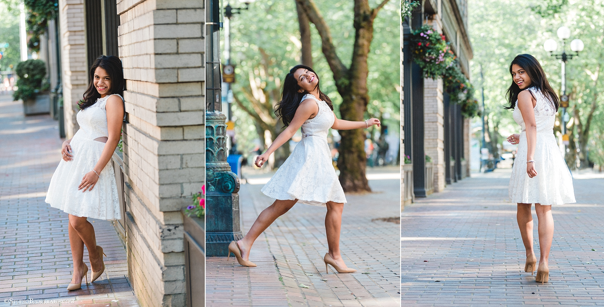 Class of 2019 Kaitlin shows us that above the knee lace is pretty and picture perfect from every angle