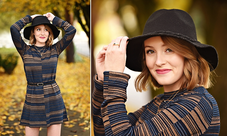 Best senior pictures in Seattle_Lakeside girl in black hat and stripes.jpg