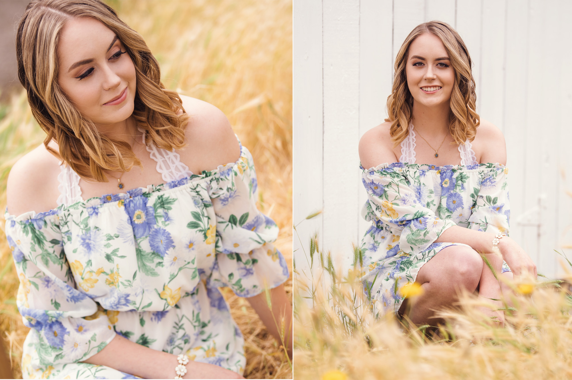 Best senior pictures in Seattle_Studio B Portraits_Girl in floral dress in golden field.jpg