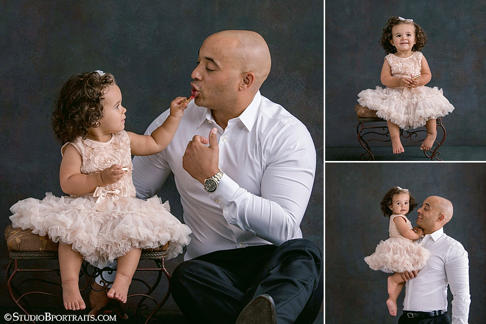 """When Baby Girl is super helpful in getting Daddy's lipstick """"just right"""""""