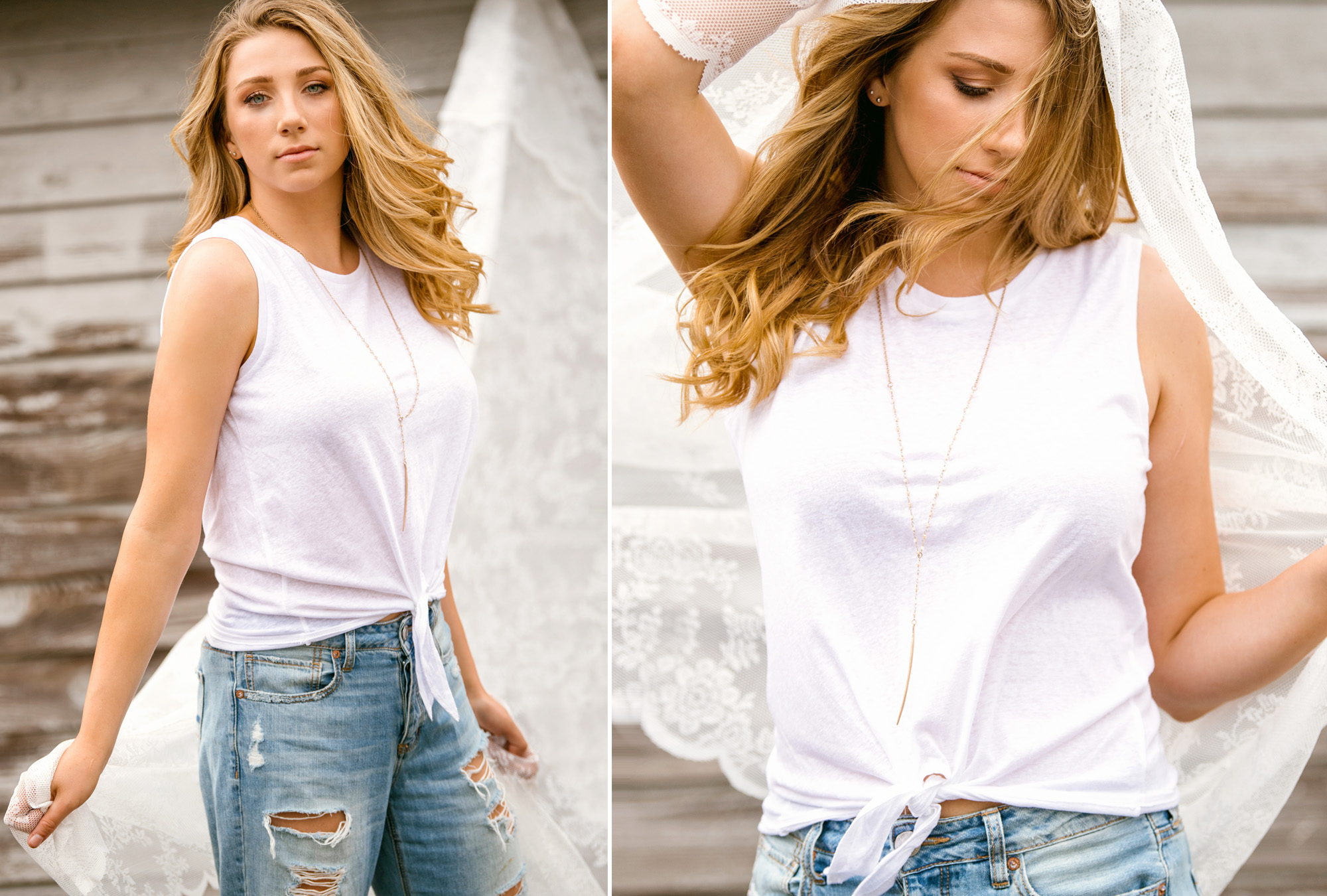 Best senior pictures of Eastsdie Catholic High School girl in white tshirt and jeans with lace_Studio B Portraits.jpg