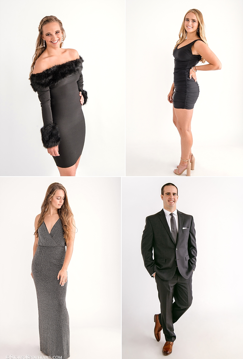 Paying special attention to favorite features and style preferences for each person is a great way to add variety to the overall look and feel of your family portraits. Adore your neckline? Show a little shoulder. Beautiful biceps? - go sleeveless. Love your legs? Why not put those gams on display!