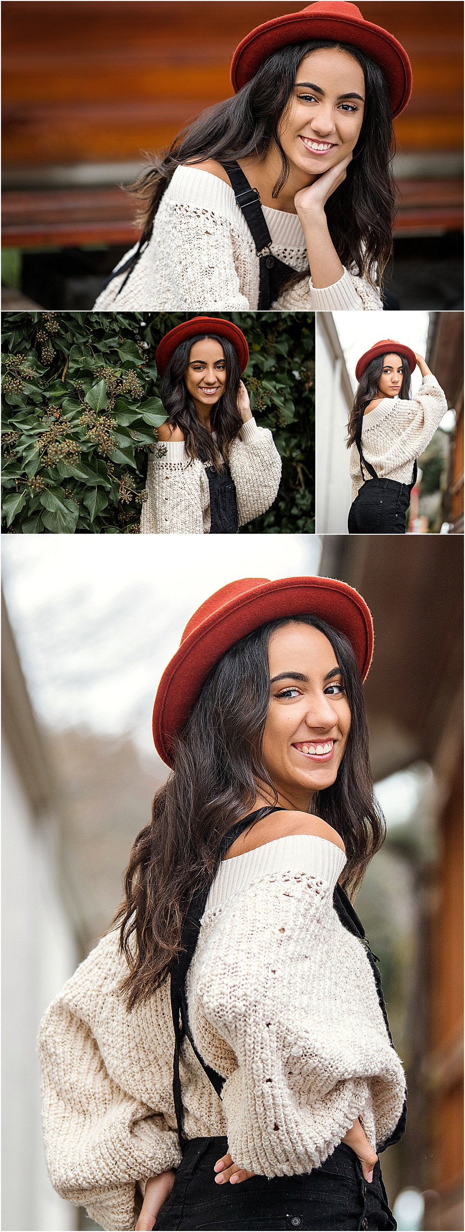 We are loving D's chunky knit sweater paired with her black jumper and orange hat. PC: StudioBportraits.com