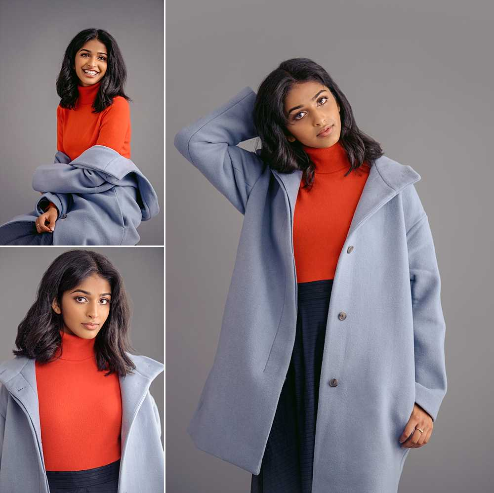 Go behind the scenes with Rishika  on our Instagram for this chic color-block look