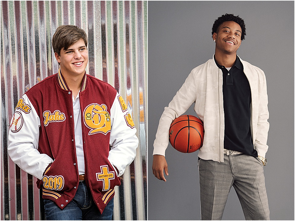 No. 2 | TOTAL BALLER   You kill it on the court - now it's time to bring your A-game to your photoshoot! I love the way a letterman jacket reps your school pride while giving a nod to the hours you've poured into your sport.   Pro Tip: From footballs to basketballs and everything in between, bring a prop to give a shout out to your sport without having to wear athletic gear.