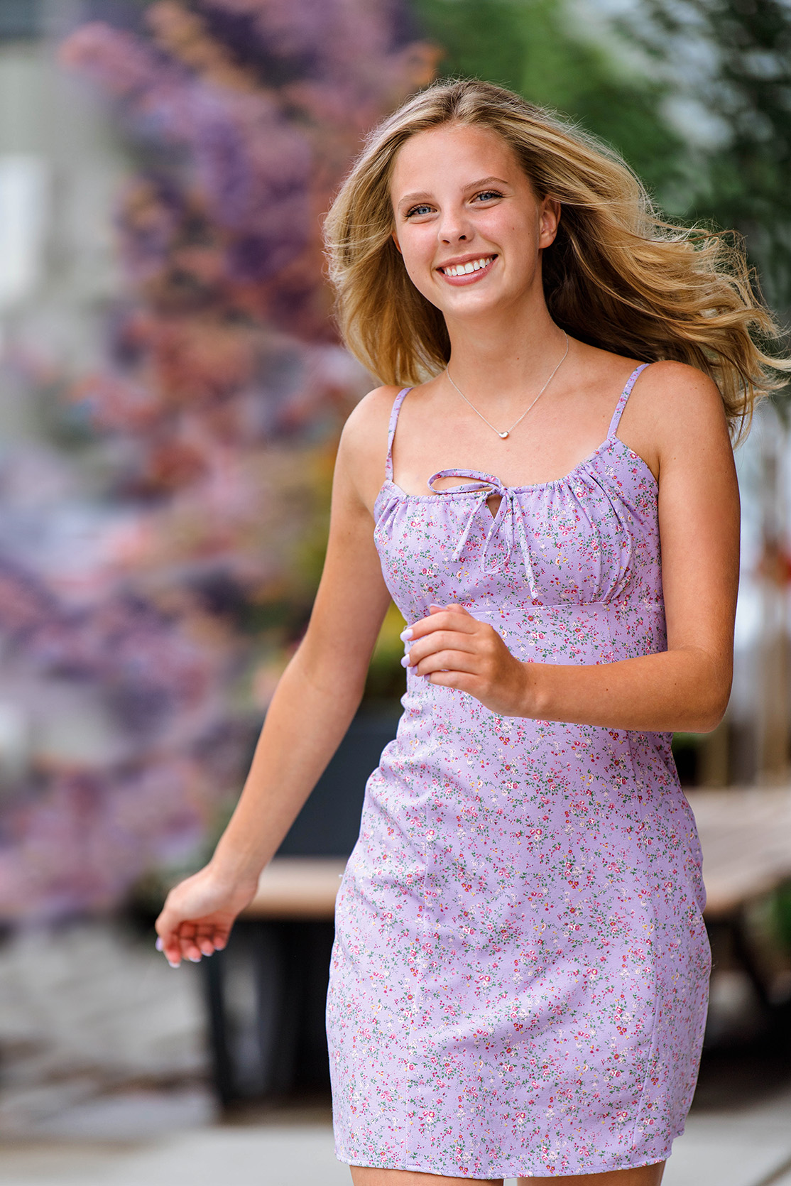 Pretty girl in Bellevue skipping in lavender dress for senior picture_Ryder-5917v.jpg