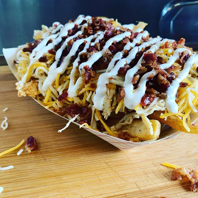 Lunch today at the Free Stamp by city hall.  Special today - Chicken Bacon Ranch Fries!  #foodtruck #cleveland #yum #beyondbbq #bacon #freestamp #smallbusiness #bigtruck
