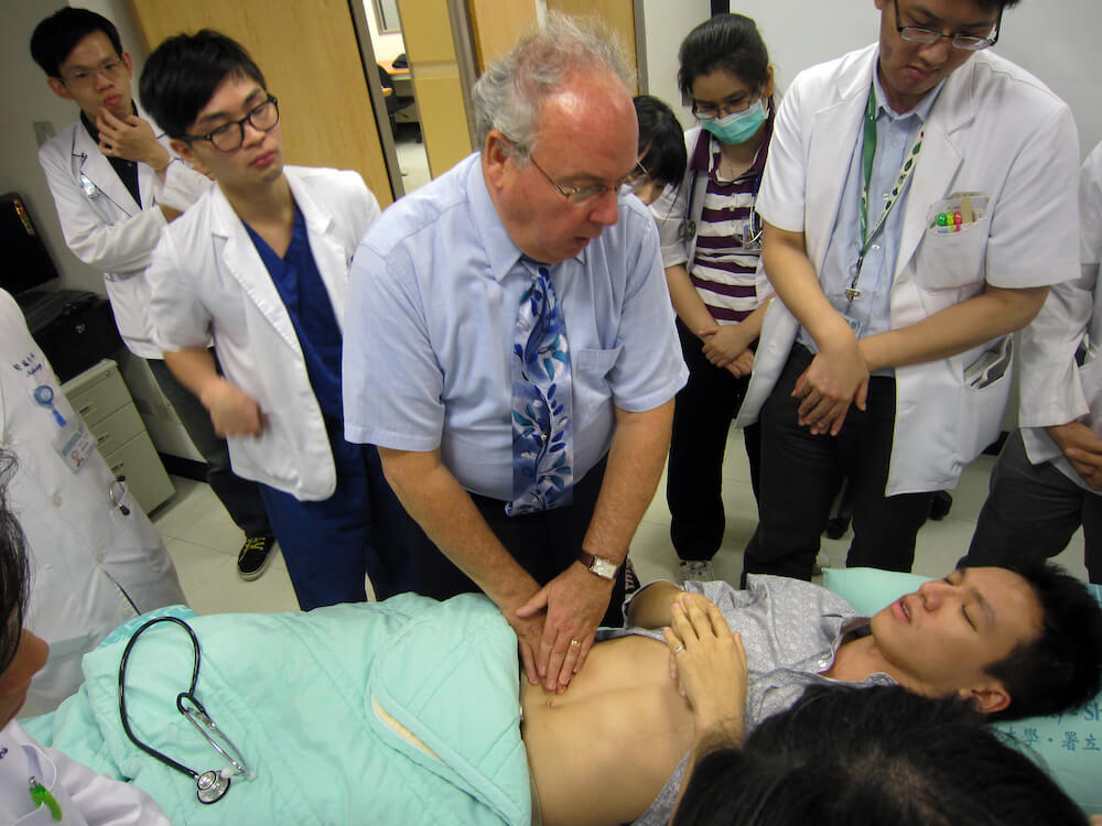 Dr. Mark Swartz demonstrates examination techniques