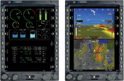 The Electronic Flight Instrument System  IDU-680 for Fixed Wing Aircraft is shown above.  Genesys' EFIS product allows a pilot to have superior situational awareness, reduced workload and greater command and control.