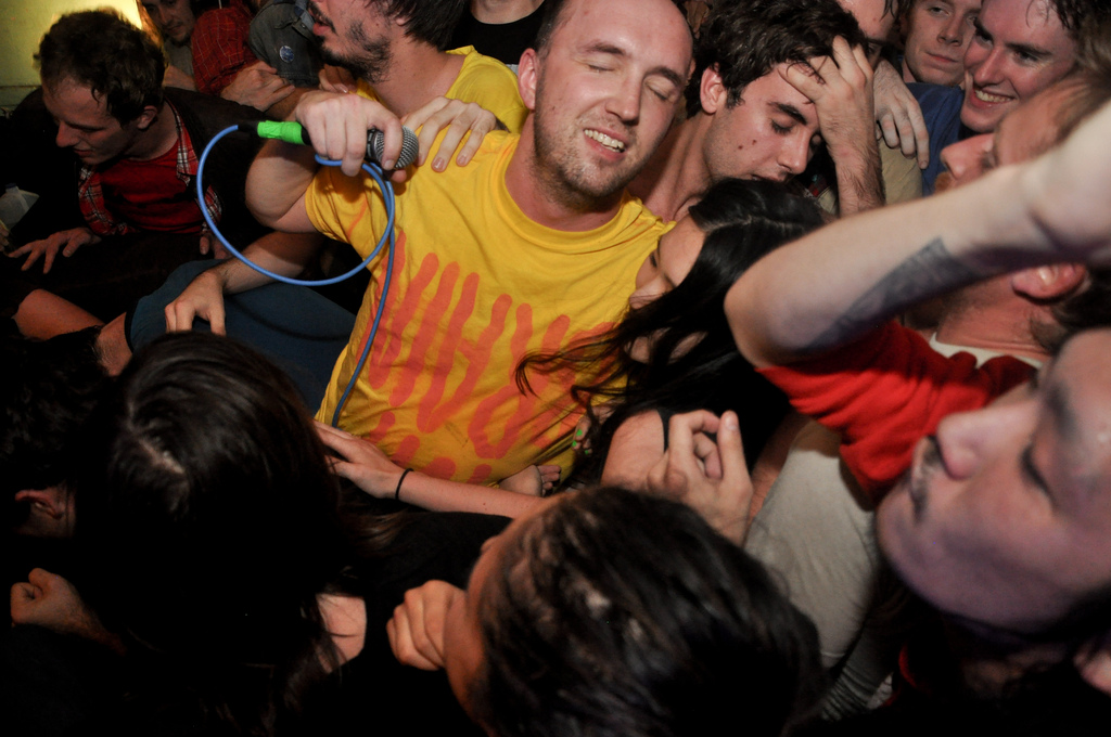 Nolen Strahls of Double Dagger at their final Brooklyn show at Death by Audio