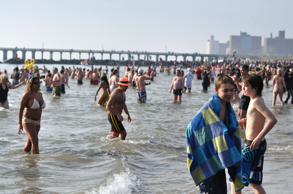 During New Year's Day swim at Coney Island on January 1, 2011.