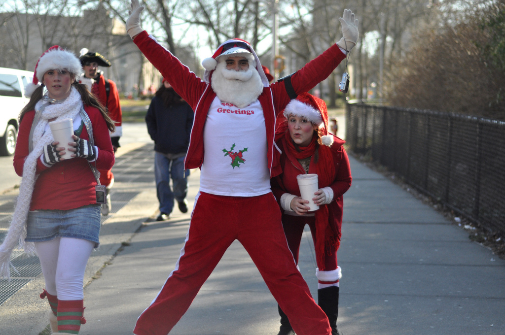 Taken during Santacon in Brooklyn, NY in 2009