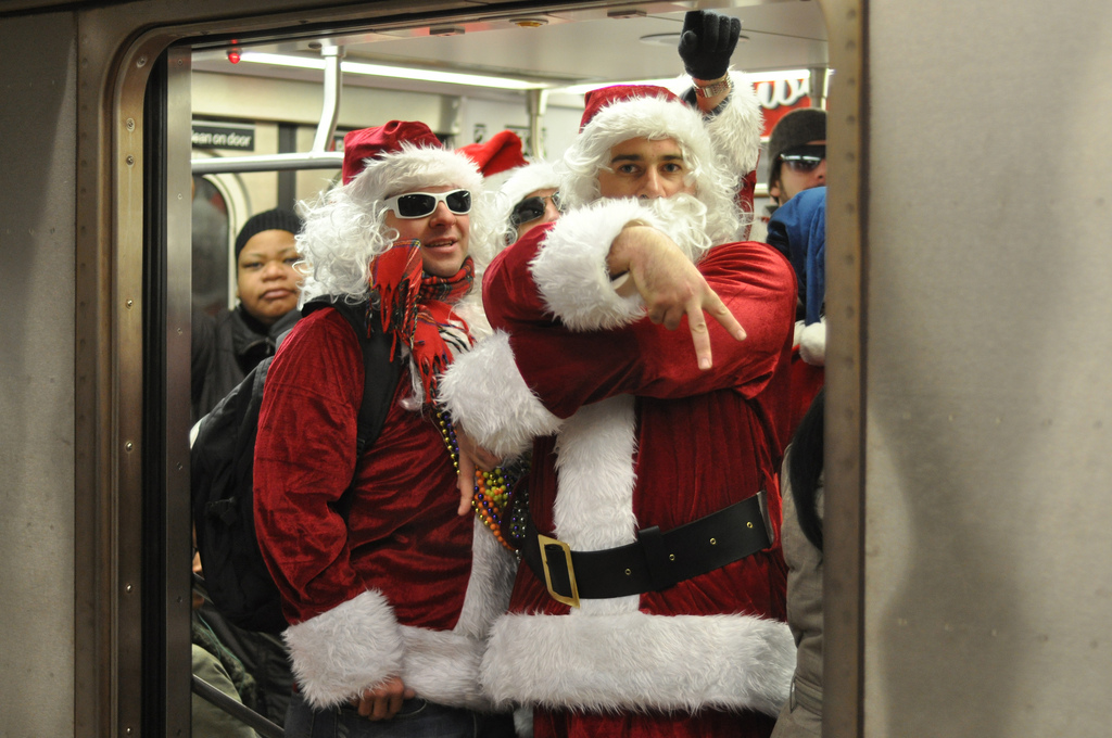 Taken at the Grand Army Plaza subway station in BRooklyn, NY during Santacon 2009.