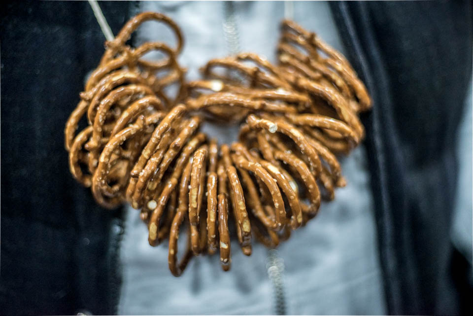 Pretzel necklace at the NYC Beer Week Opening Bash on Saturday, February 24, 2018.