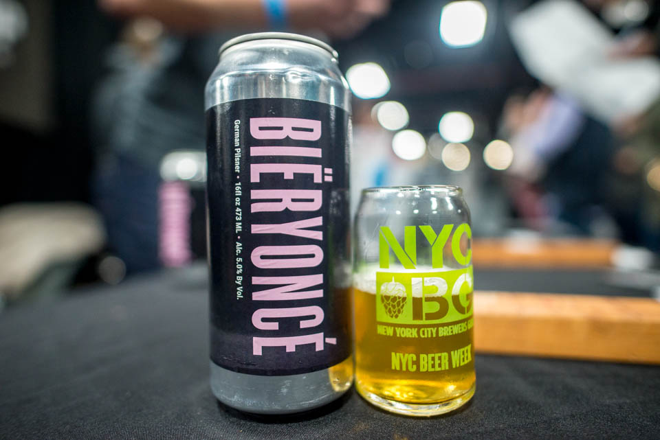 Bïeryoncé, a beer made by Lineup Brewing that has undergone a name change, at NYC Beer week Opening Bash on Saturday, February 24, 2018.