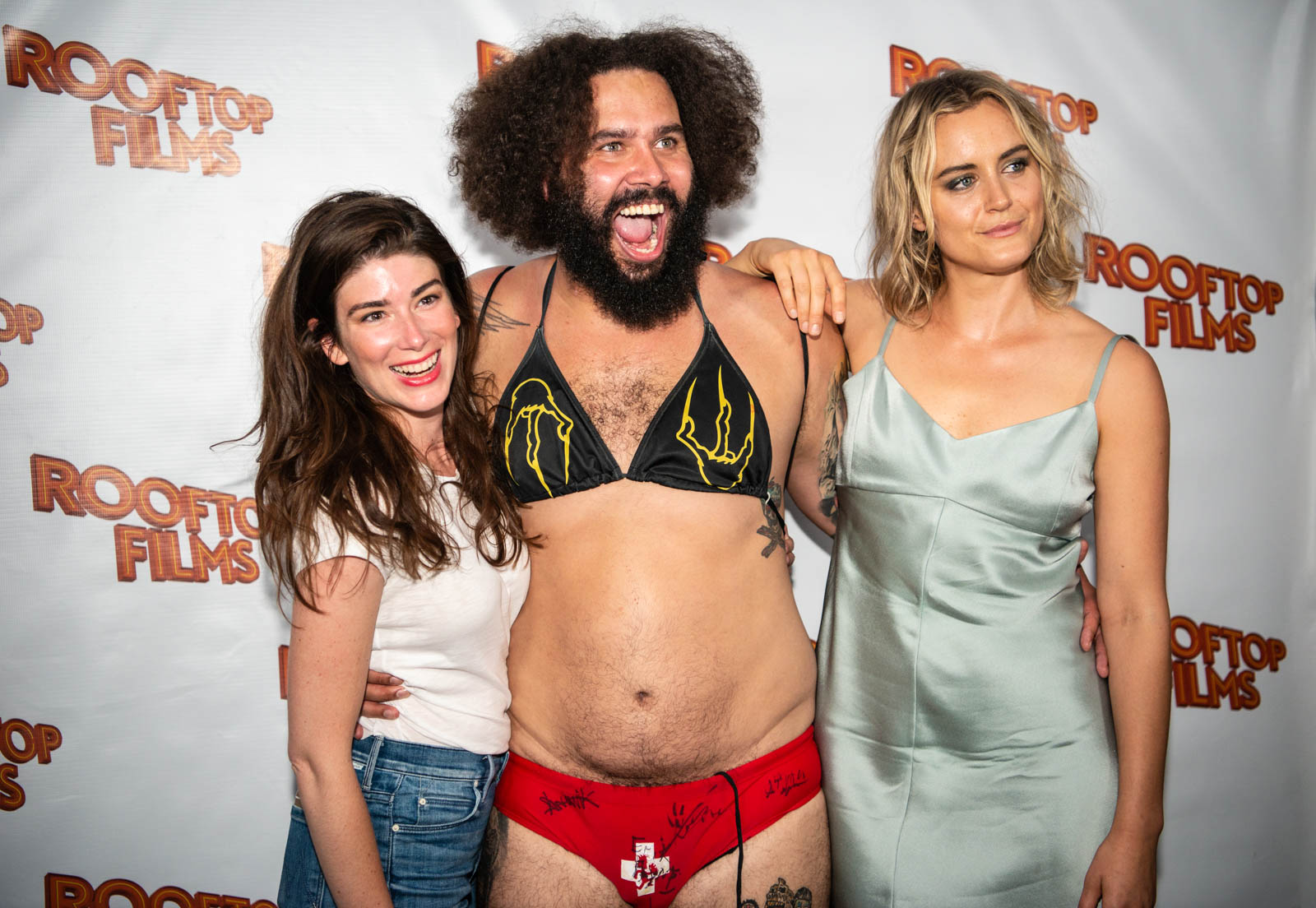 Writer/director Laura Steinel, an ICP fan known as Mankini (who appears in  Family ), and Taylor Schilling on Friday, June 29, 2018.