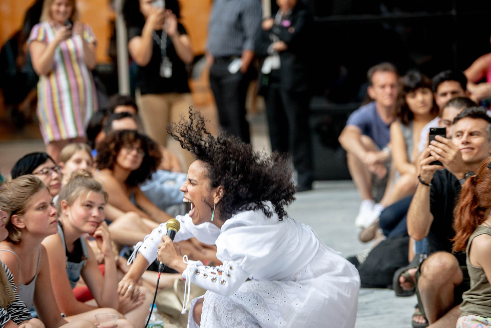 Xenia Rubinos performs in MoMA's sculpture garden on Thursday, August 8, 2018.