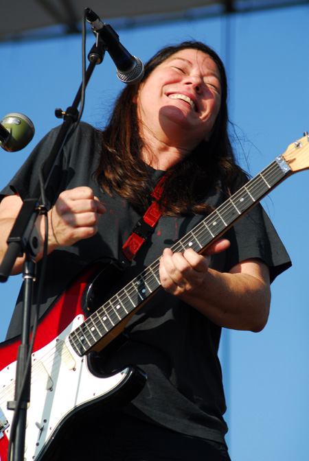 Kim Deal of  The Breeders  laughs during her band's free set at McCarren Park Pool on Sunday, July 13, 2008.