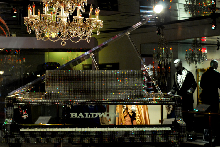 Liberace piano and chandelier