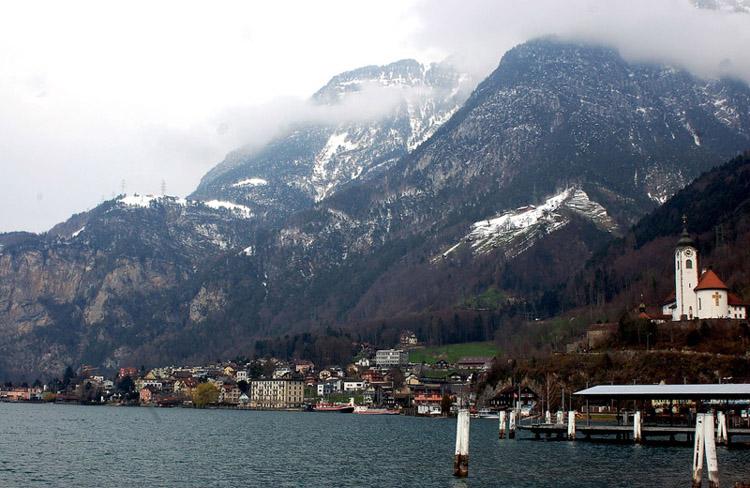 A photo of the landscape of Fluelen, Switzerland taken in 2007.