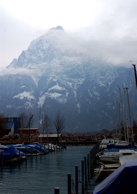 A photo of mountains taken in Fluelen, Switzerland in 2007.