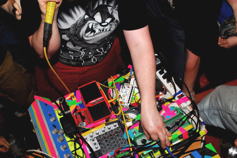 An image of Dan Deacon's equipment while he performs on Saturday, April 19, 2008 at Baltimore, MD's Copycat Annex.