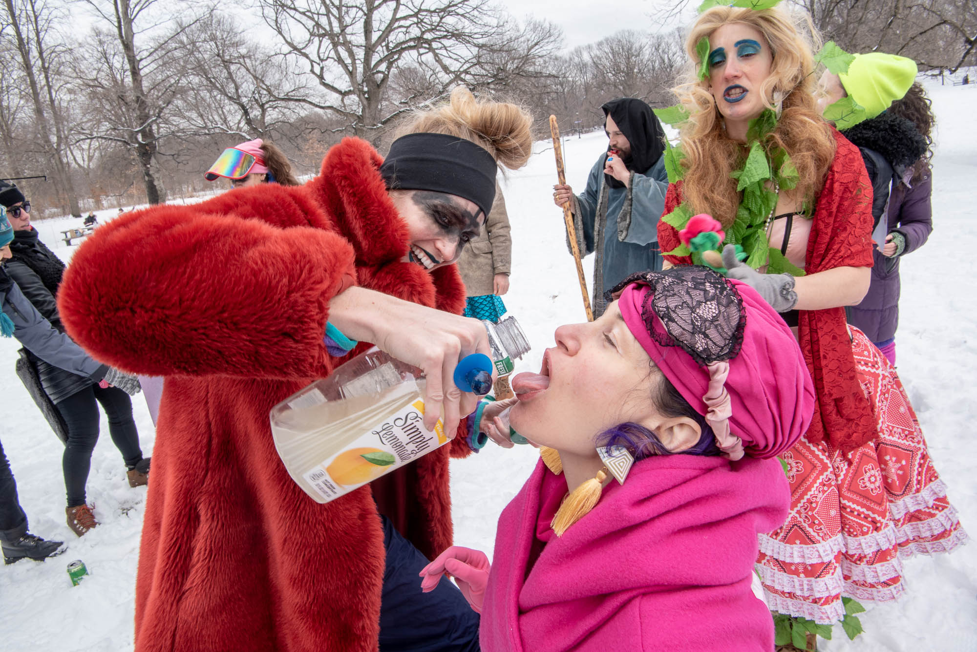 Members of Cthululemon drink during Competitive Winter Picnicking in Prospect Park on Saturday, March 2, 2019.
