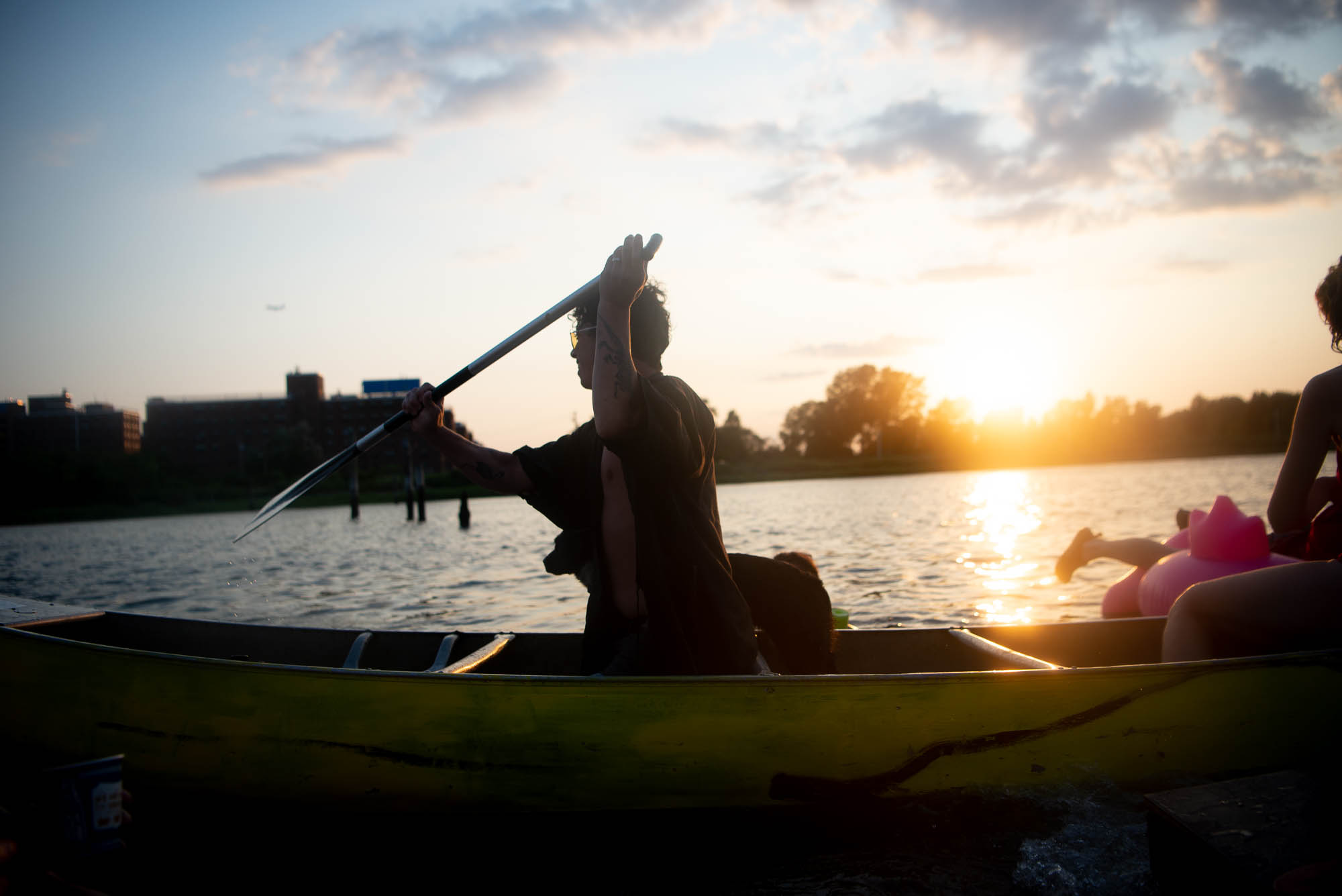 Participants of The Battle for Mau Mau Island in their canoe at sunset on Saturday, July 27, 2019.