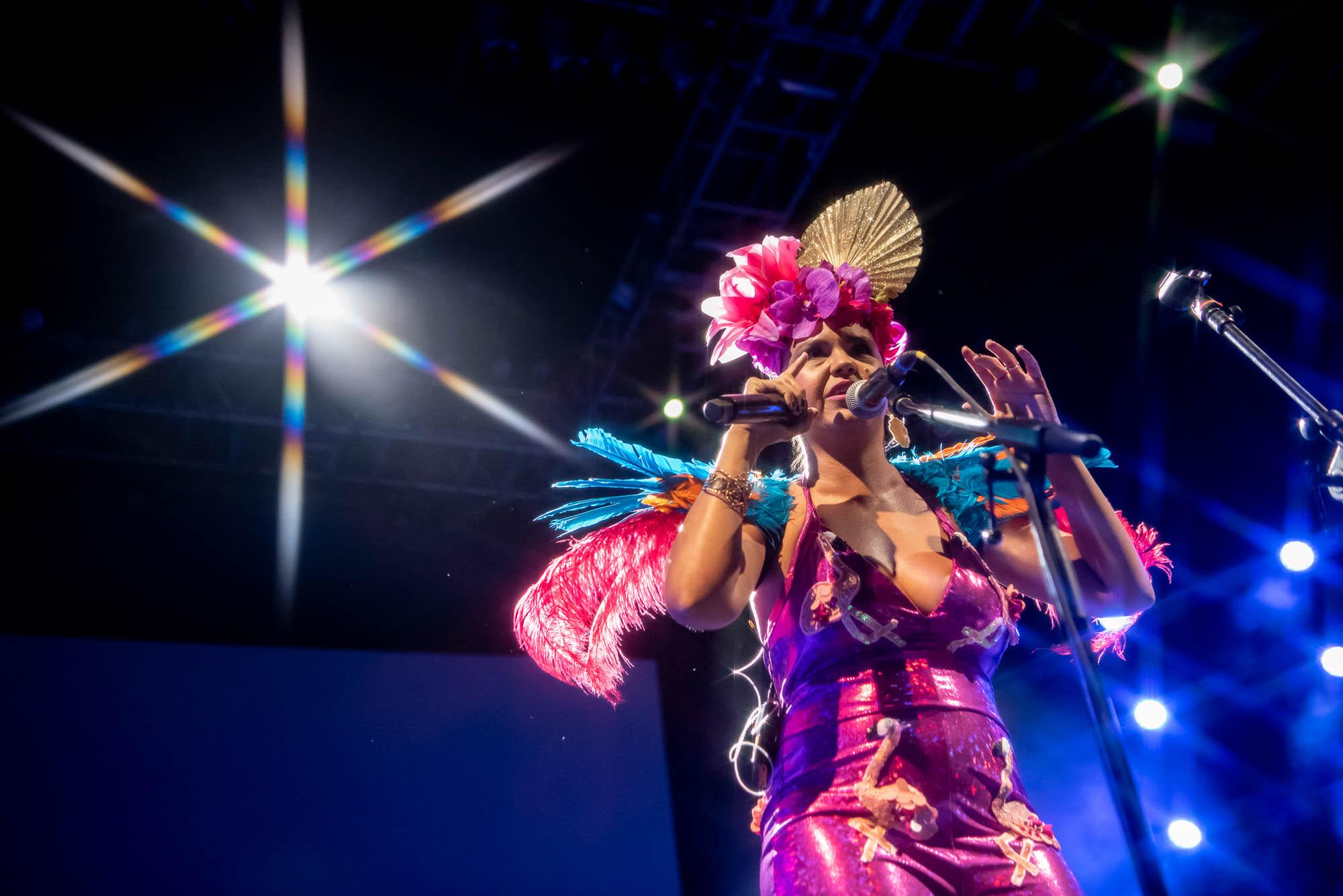 Li Saumet of Bomba Estéreo performing at BRIC Celebrate Brooklyn on Saturday, August 10, 2019.